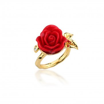 Disney Couture Kingdom Official Beauty & the Beast Gold-Plated Enchanted Rose Ring at Zentosa