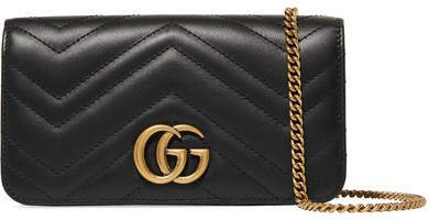 Gg Marmont Mini Quilted Leather Shoulder Bag - Black