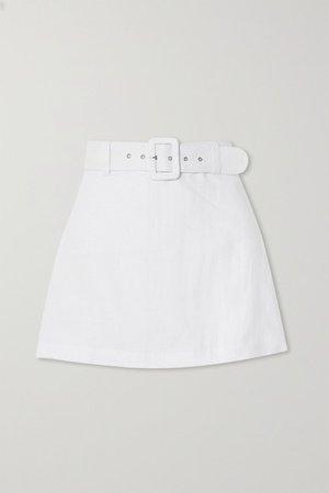 Net Sustain Celia Belted Linen Shorts - White