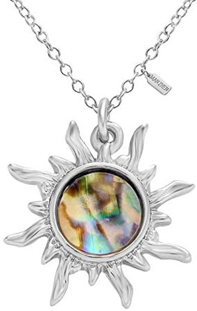 Amazon.com: MANZHEN Gold Tone Fashion Sun Sunflower Pendant Natural Abalone Shell Charm Necklace for Women(Gold): Jewelry
