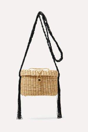 Kiki Woven Raffia And Macrame Shoulder Bag - Beige