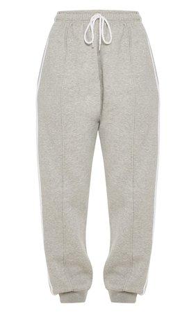 Grey Double Side Stripe Jogger | Trousers | PrettyLittleThing