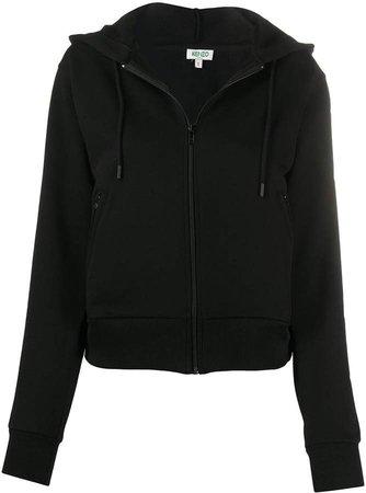 logo print zip-front hoodie