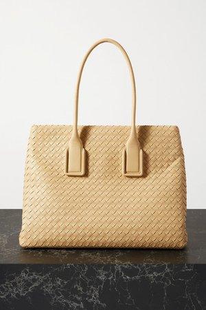 Small Intrecciato Leather Tote - Beige