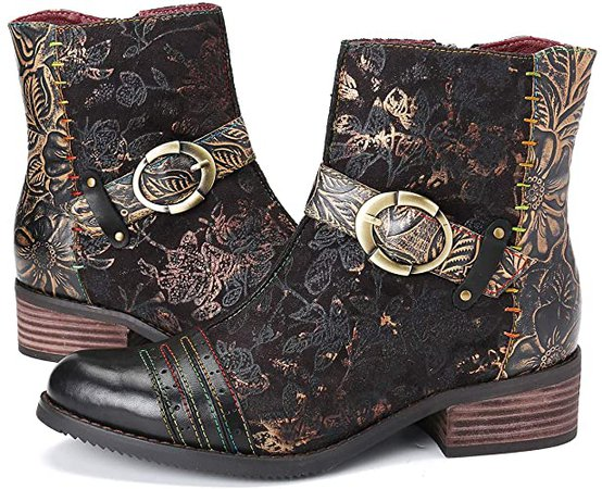 Amazon.com | gracosy Ankle Boots for Women, Leather Ankle Bootie Vintage Fashion Short Boots Side Zipper Floral Pattern Comfort Shoes Ladies Winter Boots Red 6 M US | Ankle & Bootie
