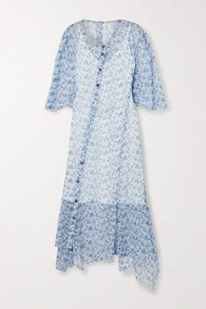 Floral-print Silk-crepon Midi Dress - White