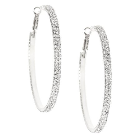 Silver Rhinestone 60MM Hoop Earrings | Claire's