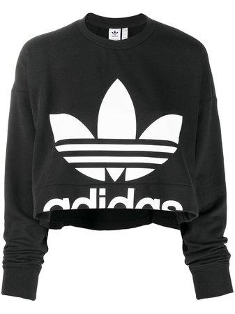 Black Adidas Logo Print Sweatshirt | Farfetch.com