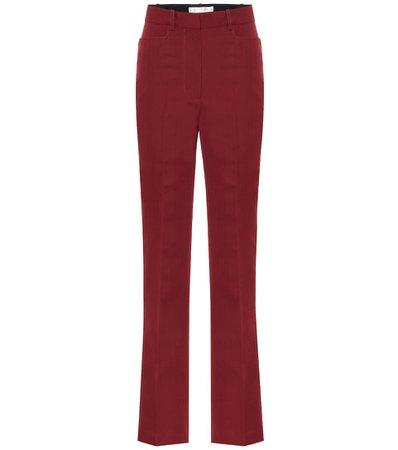 High-rise straight wool-blend pants