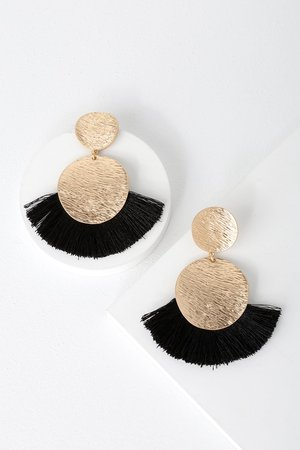 Boho Gold Earrings - Black Earrings - Fringe Earrings