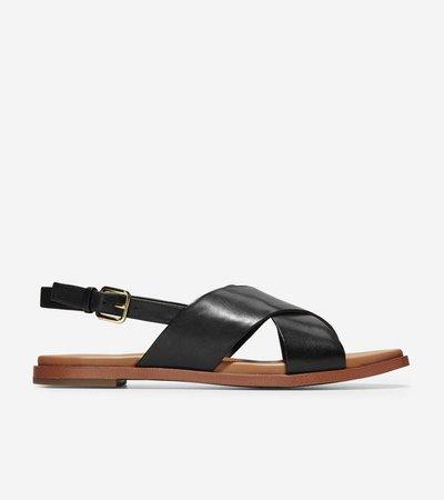 Cole Haan Fernanda Flat Sandal in Black Leather : ColeHaan.com