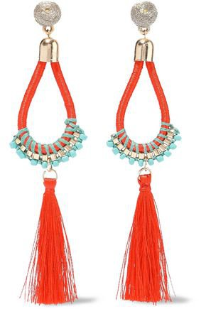 Gold-tone, cord, bead and tassel earrings | KENNETH JAY LANE | Sale up to 70% off | THE OUTNET
