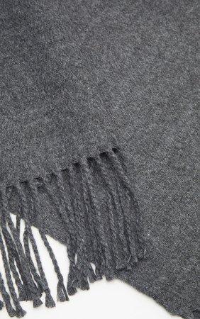 Charcoal Solid Blanket Tassel Scarf   PrettyLittleThing