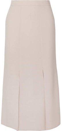 Wool-blend Crepe Skirt - Beige