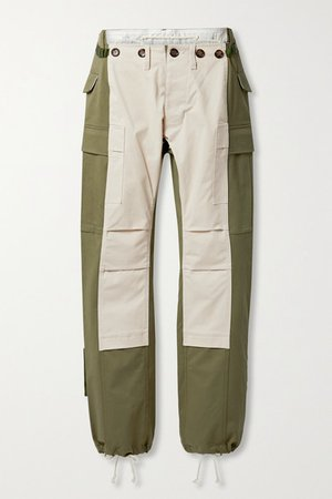 The Nina Paneled Cotton-blend Twill Straight-leg Pants - Army green