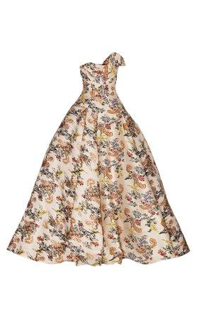 Oscar de la Renta Floral-Patterned Jacquard Strapless Gown
