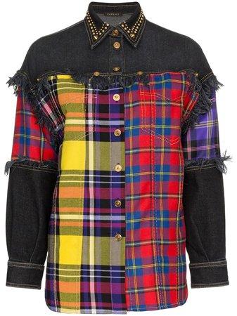 Versace Plaid And Denim Wool Button Down Shirt | Farfetch.com