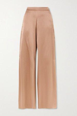 Silk-charmeuse Wide-leg Pants - Sand