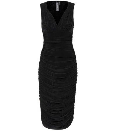 Norma Kamali Ruched midi black dress