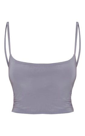 Grey Slinky Cami Crop Top   Tops   PrettyLittleThing