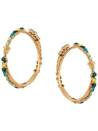 Versace Crystal-Embellished Greca Hoop Earrings Ss20   Farfetch.com