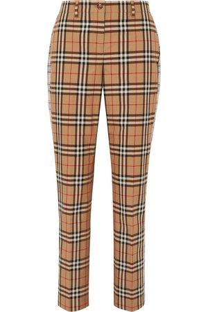 Burberry   Checked cotton-twill straight-leg pants   NET-A-PORTER.COM
