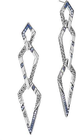 Lahar Interlink Sterling Silver & Sapphire Drop Earrings