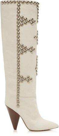 Isabel Marant Lyork Leather Velvet Boots