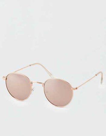 AE Rose Gold Flat Lens Aviator Sunglasses