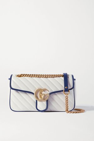 White GG Marmont small quilted textured-leather shoulder bag   Gucci   NET-A-PORTER