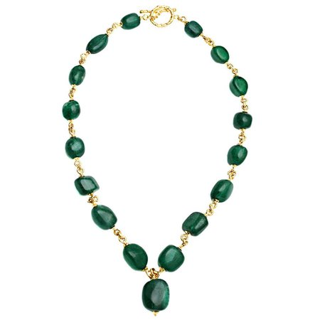 Baroque Emerald Gold Link Necklace For Sale at 1stDibs