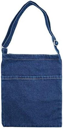 Amazon.com: YunZh Canvas Bag Denim Tote Shoulder Handbag Shopping School Travel Pockets Reusable Grocery Bags: Shoes