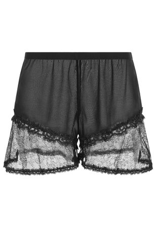 Crystal Forms Black Silk And Lace Shorts With Lurex Embroidery | La Perla