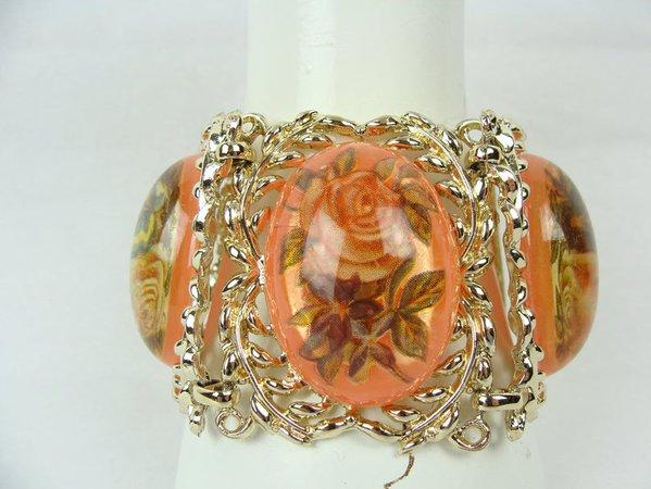 Vintage Link Bracelet 60s Gold Tone Leaves Pink Lucite Flowers | Etsy