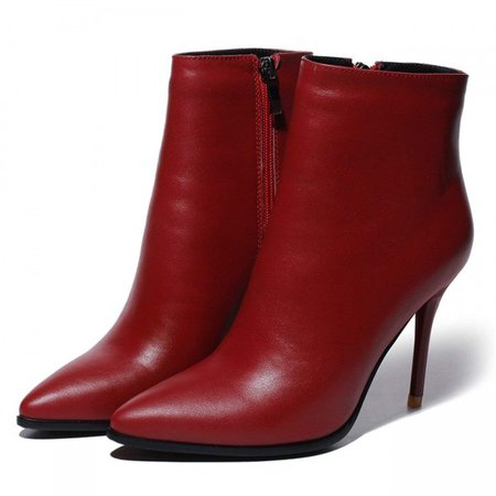 Women's Thin Heel Pointed Toe Zipper Closure Genuine Leather Ankle Boots 3 5 dark red KKTBWHEZW