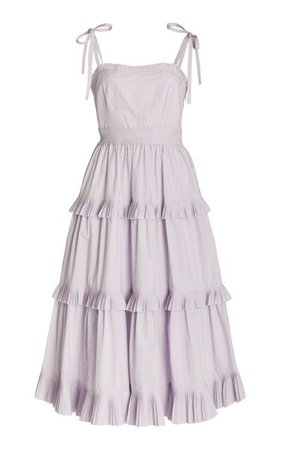 Lune Tiered Cotton Midi Dress By Ulla Johnson   Moda Operandi
