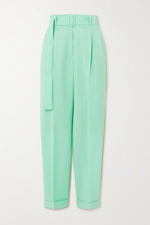 Wool And Mohair-blend Tapered Pants - Turquoise