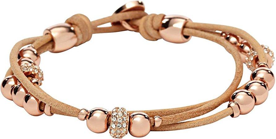 Fossil Rondel Leather Wrist Wrap Bracelet: Jewelry