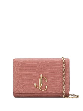 Pink Jimmy Choo Varenne Crocodile-Effect Clutch Bag | Farfetch.com