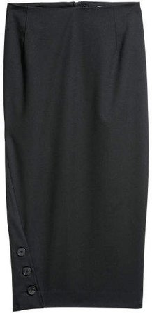 Pencil Skirt with Buttons - Black