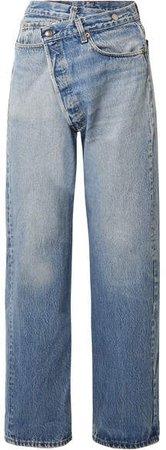 Crossover Asymmetric High-rise Straight-leg Jeans - Mid denim