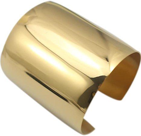Amazon.com: COUYA Stainless Steel Gold Plated Women Big Heavy Long Cuff Bangle Bracelet: Clothing