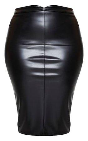 Plus Eva Black Faux Leather Panel Midi Skirt | PrettyLittleThing USA