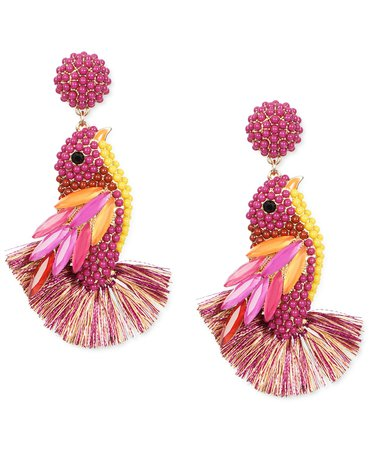 INC International Concepts Gold-Tone Bead Cluster, Navette-Stone & Fringe Bird Drop Earrings, Created for Macy's & Reviews - Earrings - Jewelry & Watches - Macy's