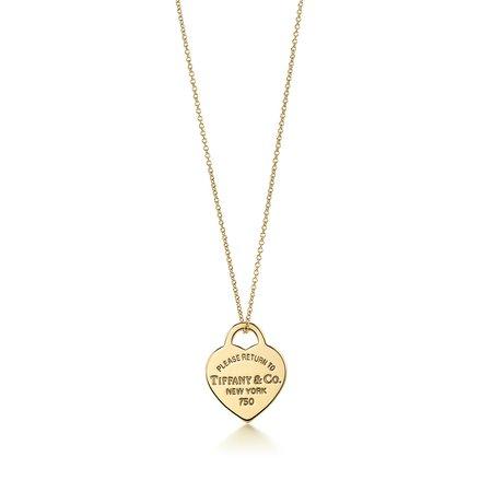 Return to Tiffany® heart tag pendant in 18k gold, small. | Tiffany & Co.