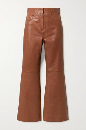Eudora Leather Flared Pants - Camel