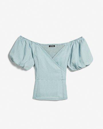 Denim Off The Shoulder Puff Sleeve Peplum Top | Express