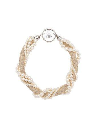 Miu Miu Pearl Embellished Cord Necklace 5JC7432D24 Neutral   Farfetch