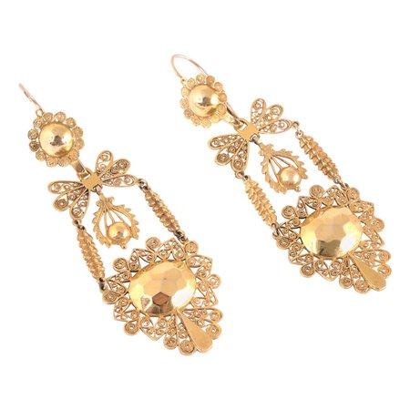 Filigree Sicilian Earrings 12 Karat Yellow Gold For Sale at 1stDibs