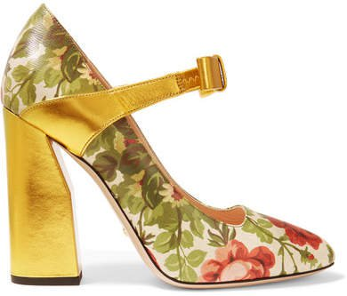 Gucci for Floral-print Textured-leather Pumps - Gold